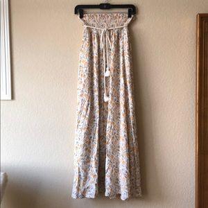 Forever 21 Floral tassel tied maxi skirt